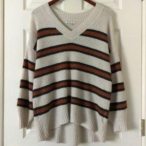 American Eagle Oversized Striped Waffle Sweater M